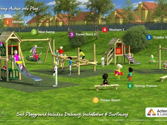 Playground cost example covering the a wide age range with 2 climbing frames, a play tower, slides, benches, a springer and swings