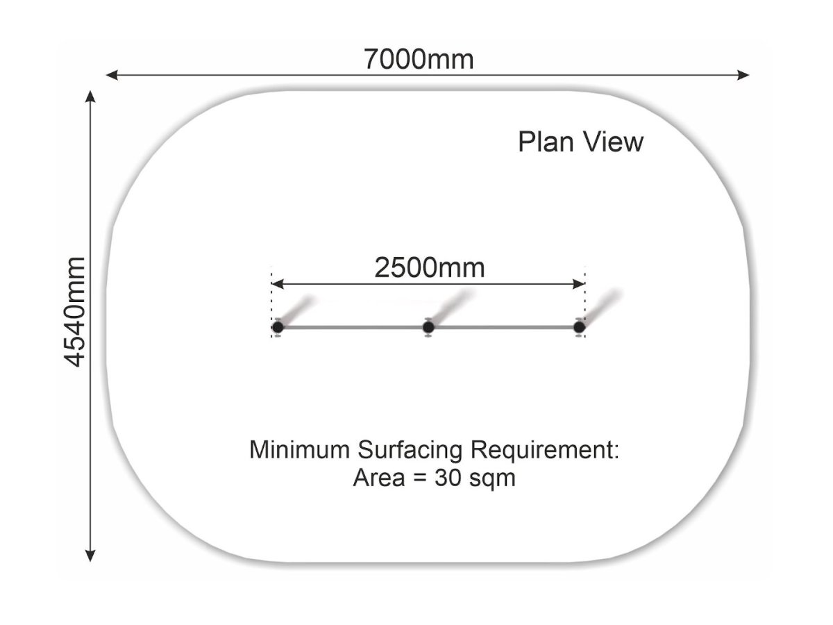 Double Pull Up Bar (2 heights) plan view