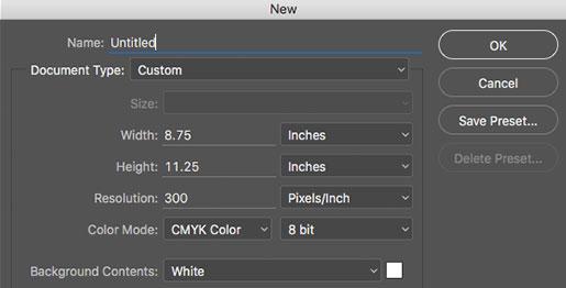 Photoshop New File Dialog