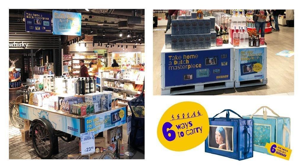 Dit is een compilatie afbeelding van een campagne voor Souprbags die te zien was op Schiphol Airport gemaakt in opdracht van Schiphol Airport Retail. Op het beeld zien we verschillende retail materialen in de winkels, zoals een bakfiets, plafondhangers, posters, en winkelsfeer. Het gaat om de promotie van Souprbags tassen rondom het concept Dutch Masterpieces met schilderijen van Van Gogh en Vermeer. De tassen zijn heel eenvoudig op 6 manieren te dragen wat is te lezen op een geel label met blauwe tekst. Verder zien we twee blauwe draagtassen met daarop een schilderij van het meisje met de parel van Vermeer en een schilderij van 'lentebloesem' van Vincent van Gogh. Alle uitingen zijn gemaakt en vormgegeven door Activates merkversterkend reclamebureau uit Sassenheim in dienst van Creative Agency IM uit Leiden.