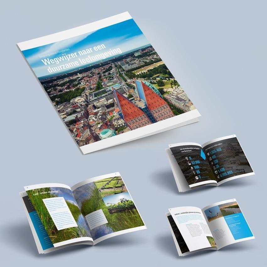 Dit is een collectie van beelden van de nieuwe brochure voor Omgevingsdienst Haaglanden. We zien een brochure met daarop een foto van Den Haag. In witte letters lezen we 'Wegwijzer naar een duurzame leefomgeving'. Ook zien we spreads van de layout en opmaak van de binnenzijde met foto's van sloten, gras, kassen, statistieken, vogels, bedrijven en akkers in en om de omgeving Haaglanden en het westland. Het design van de brochure werd bedacht, gemaakt en ontworpen door Activates merkversterkend reclamebureau uit Sassenheim in vast dienstverband van Onze Kapel uit Haarlem.