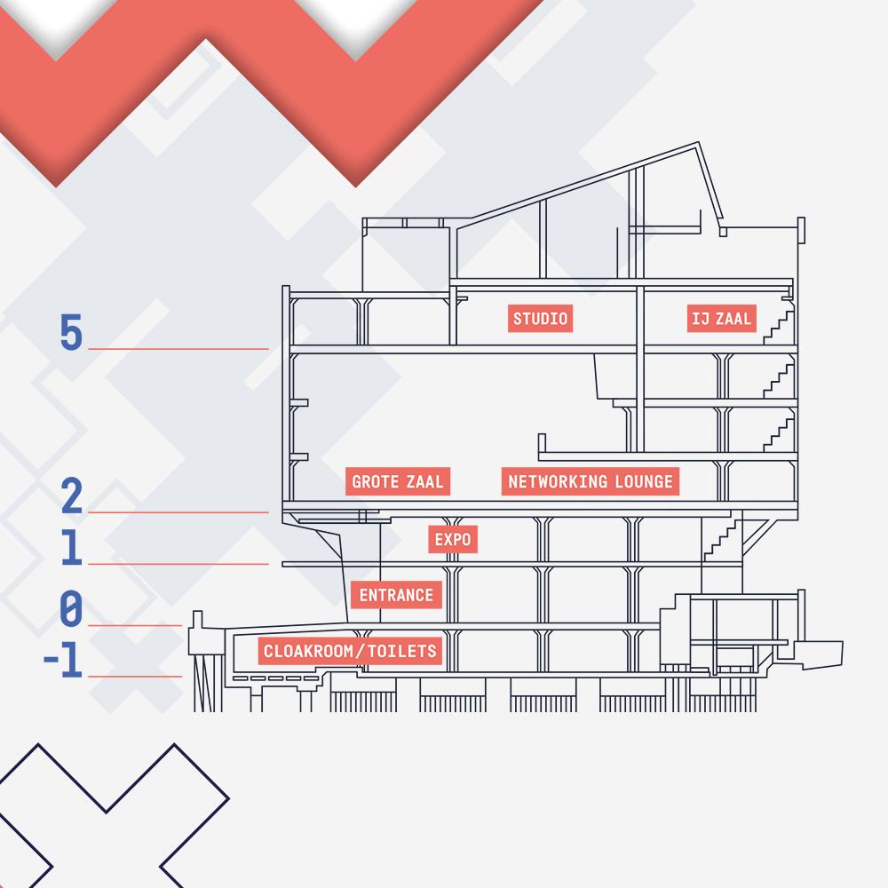 Dit is een afbeelding van een lijntekening van de plattegrond van EGG Amsterdam 2019 #EGGAMS2019 dat in Pakhuis de Zwijger werd gehouden. We zien een tekening van Pakhuis De Zwijger in blauwe lijnen en etagenummers gevoerd in de huisstijl van EGG Amsterdam. De stijl van EGG Amsterdam is volledig ontwikkeld door Activates merkversterkend reclamebureau uit Sassenheim in opdracht van Dataiku en Karin Heppener van Heppener makes it happen!