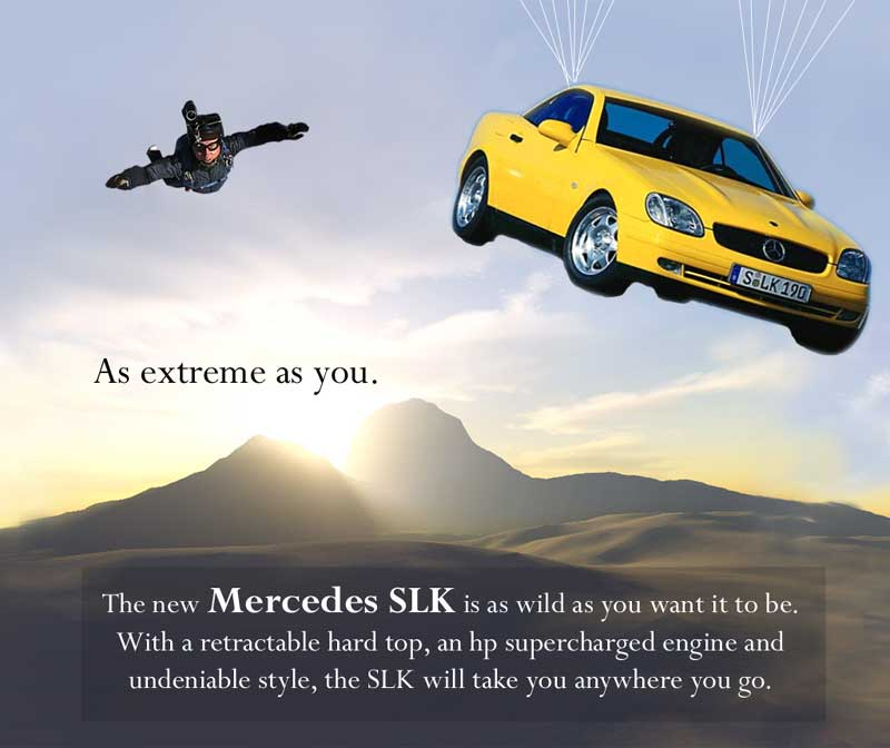 yellow car in parachute