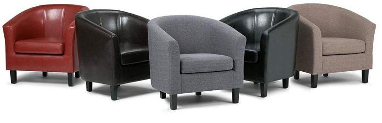 Simpli Home Austin Faux Leather Accent Tub Chair