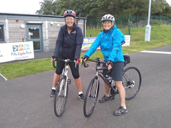 Ladies at the Fife Cycle Park after a Road Bike Handling Masterclass session