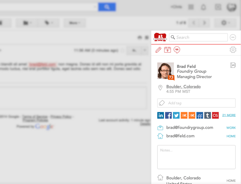 View contact details at a glance in Gmail