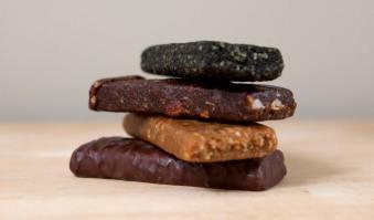 healthy hiking snacks - energy bars stacked