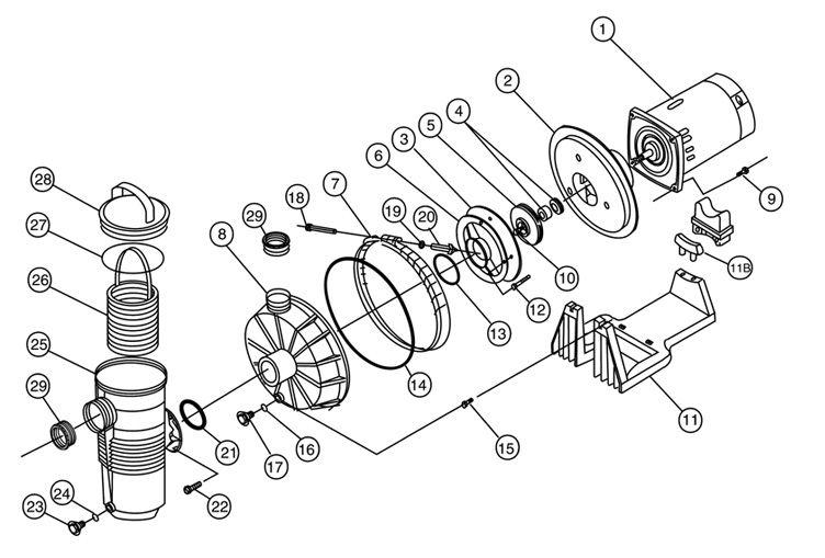 PENTAIR 346204 CHALLENGER PUMP 1HP UR HH 115/230V Parts