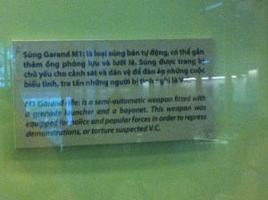 "Did you know that the M-1 Garand was used to ""repress demonstrations or torture suspected V.C.""?"