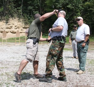 Teaching how to avert opponent's muzzle and strike with your own firearm (if you have a malfunction)