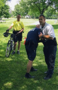 Teaching weapon retention skills to exhausted police bike officers. It's hard to fight when you start out tired!
