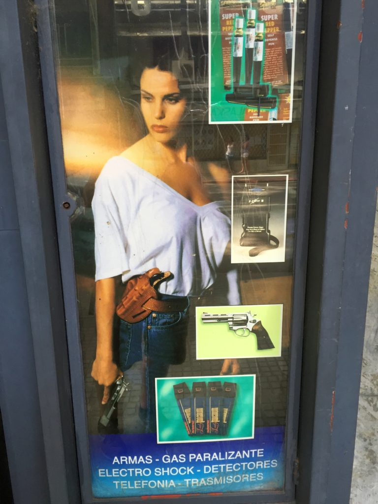 Gun store window in Montevideo