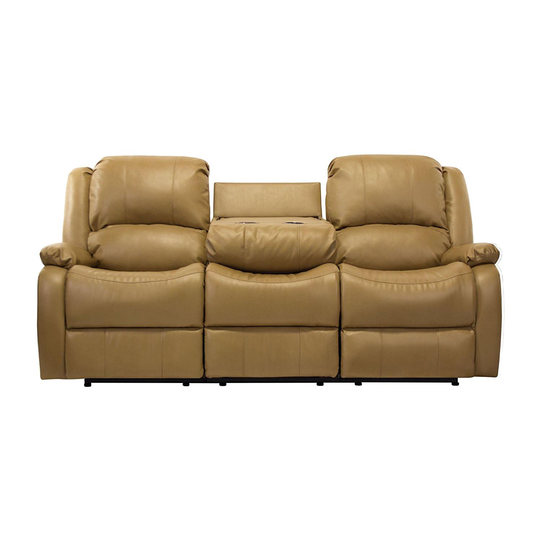 triple reclining sofa leather refurbishment 80 quot recliner w drop down console rv wall