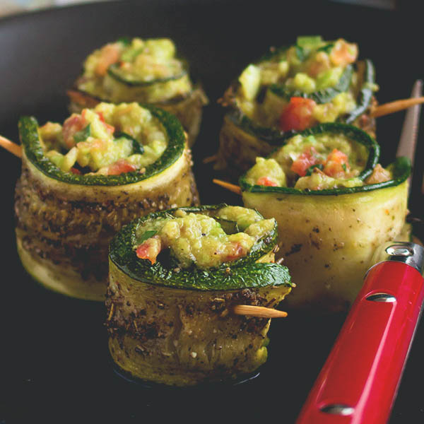 Roasted Zucchini Rolls with Guacamole Filling