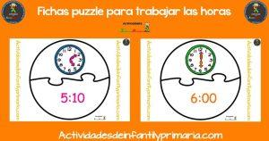Fichas puzzle para aprender las horas
