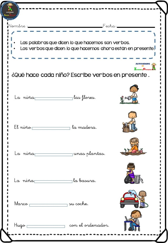 Fichas de actividades para trabajar los verbos en primaria