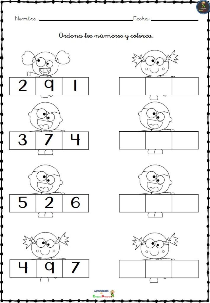 Colección De Fichas Para Ordenar Los Números Del 1 Al 10 En