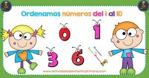 Colección de fichas para ordenar los números del 1 al 10 en Color y B/N