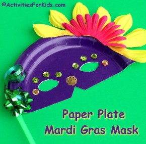 Paper plate Mardi Gras Masks for kids to make. Add colorful items that can be found at the Dollar Tree for a festive Mardi Gras craft for kids to make. Find more Mardi Gras crafts for kids at ActivitiesForKids.com