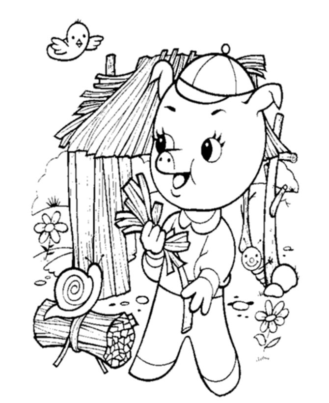 Stick House Coloring Page Coloring Pages