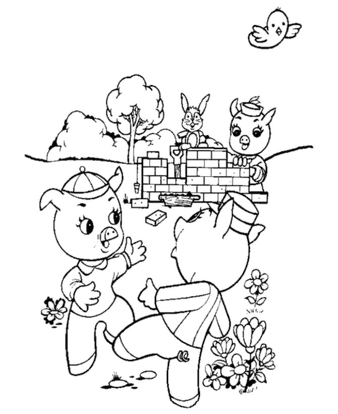 Three Little Pigs Brick House Coloring Page Coloring Pages