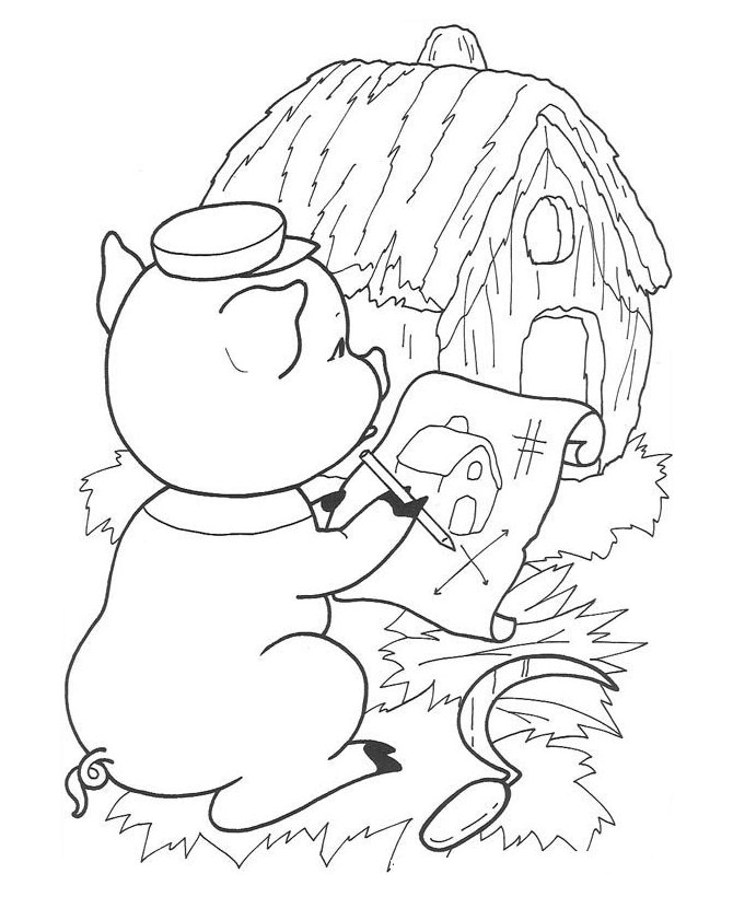 3 Little Pigs Stick House Coloring Pages Coloring Pages