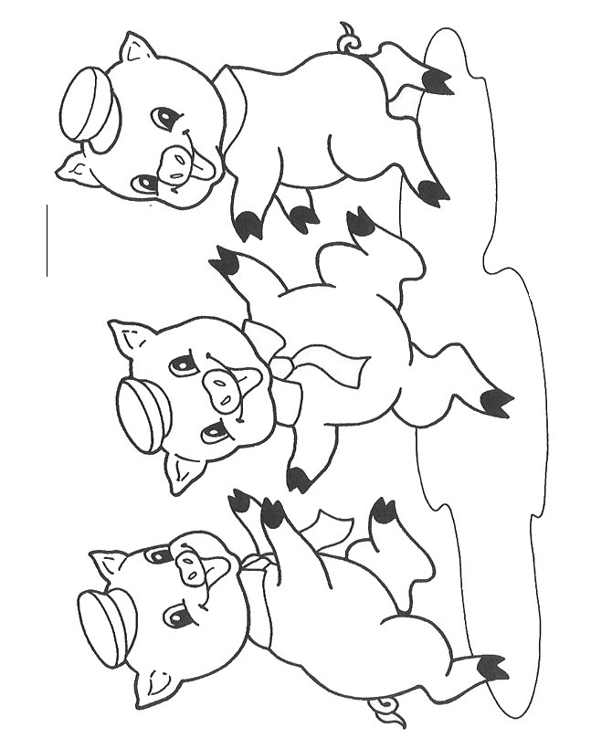 Three Little Pigs Masks Coloring Coloring Pages