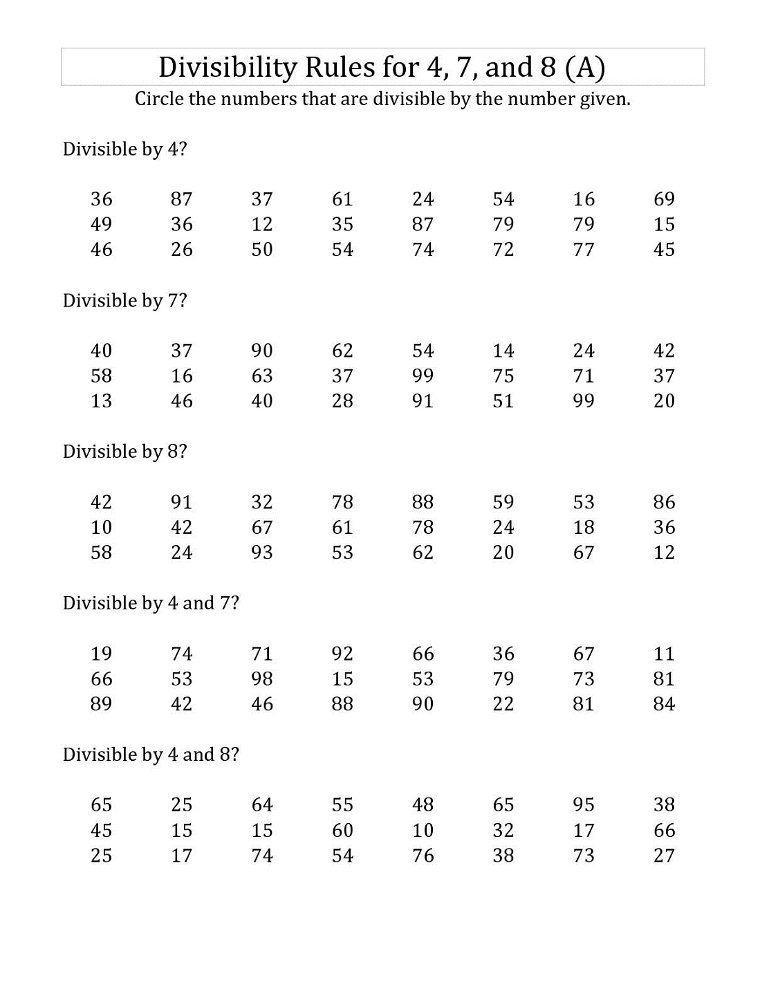 Factors And Divisibility Worksheet