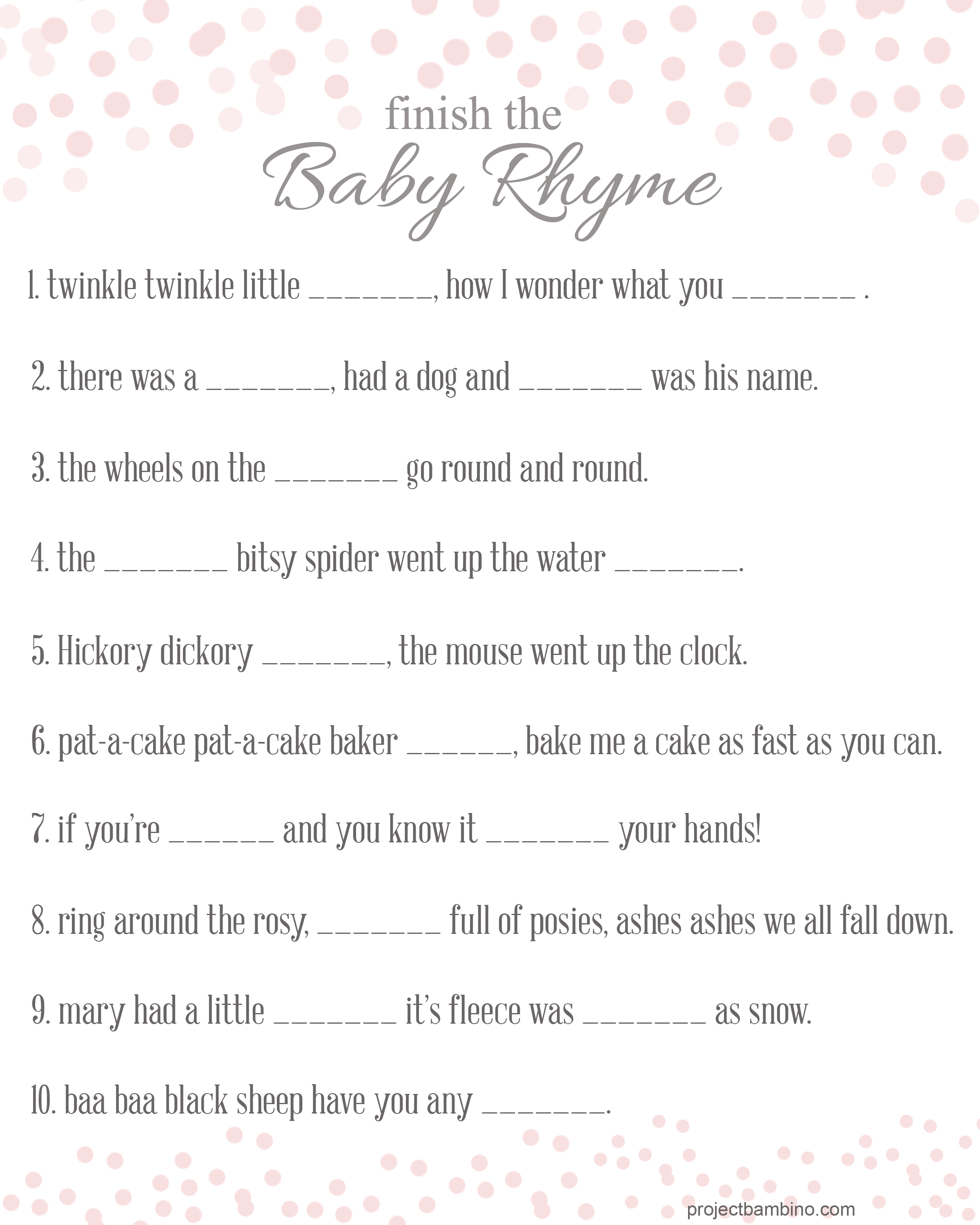 Baby Shower Games To Print