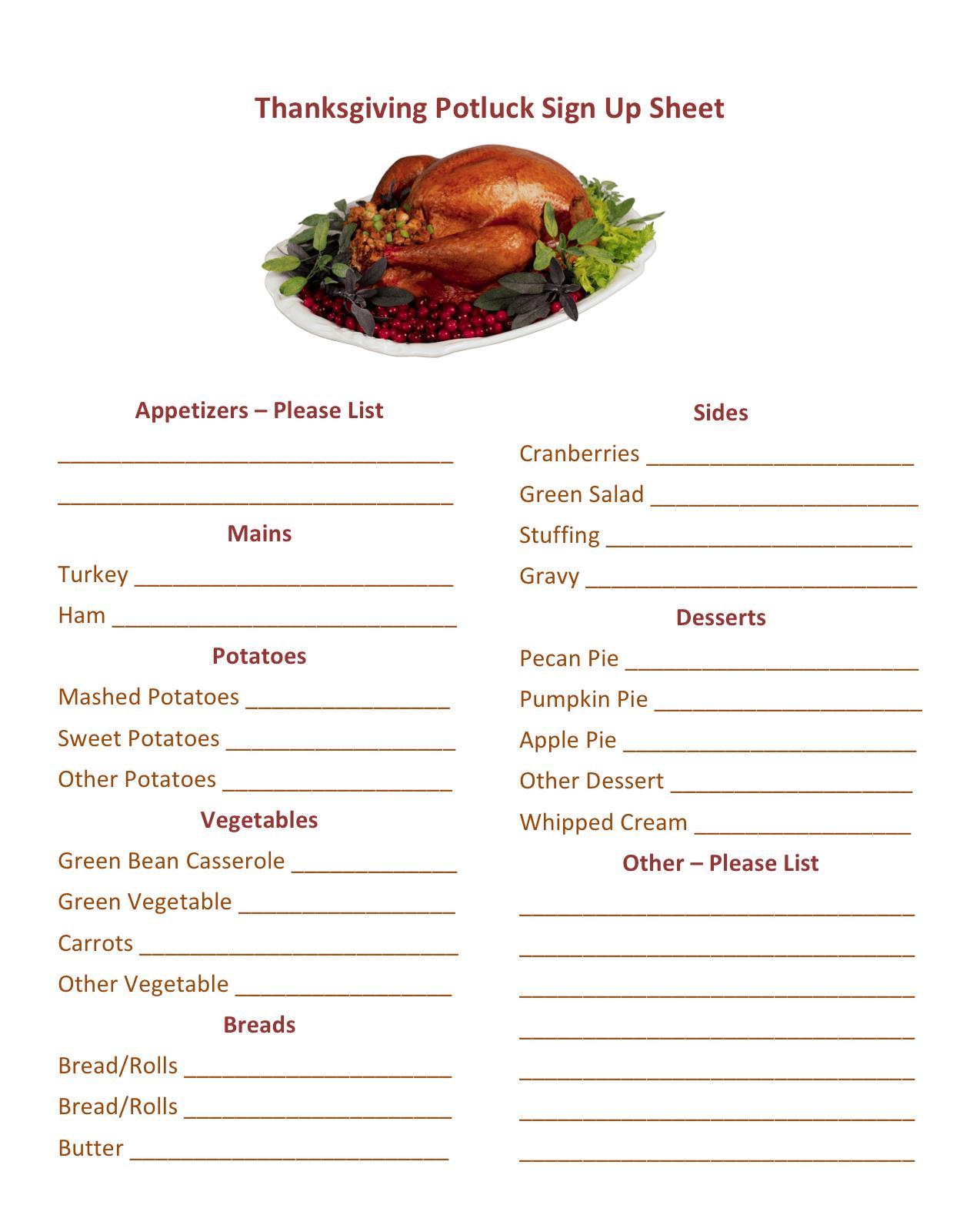 Christmas Party Potluck Sign Sheet Printable