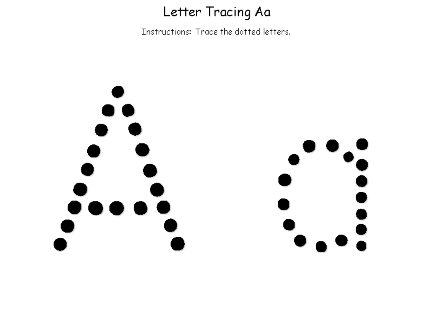 Tracing The Letter A Free Printable