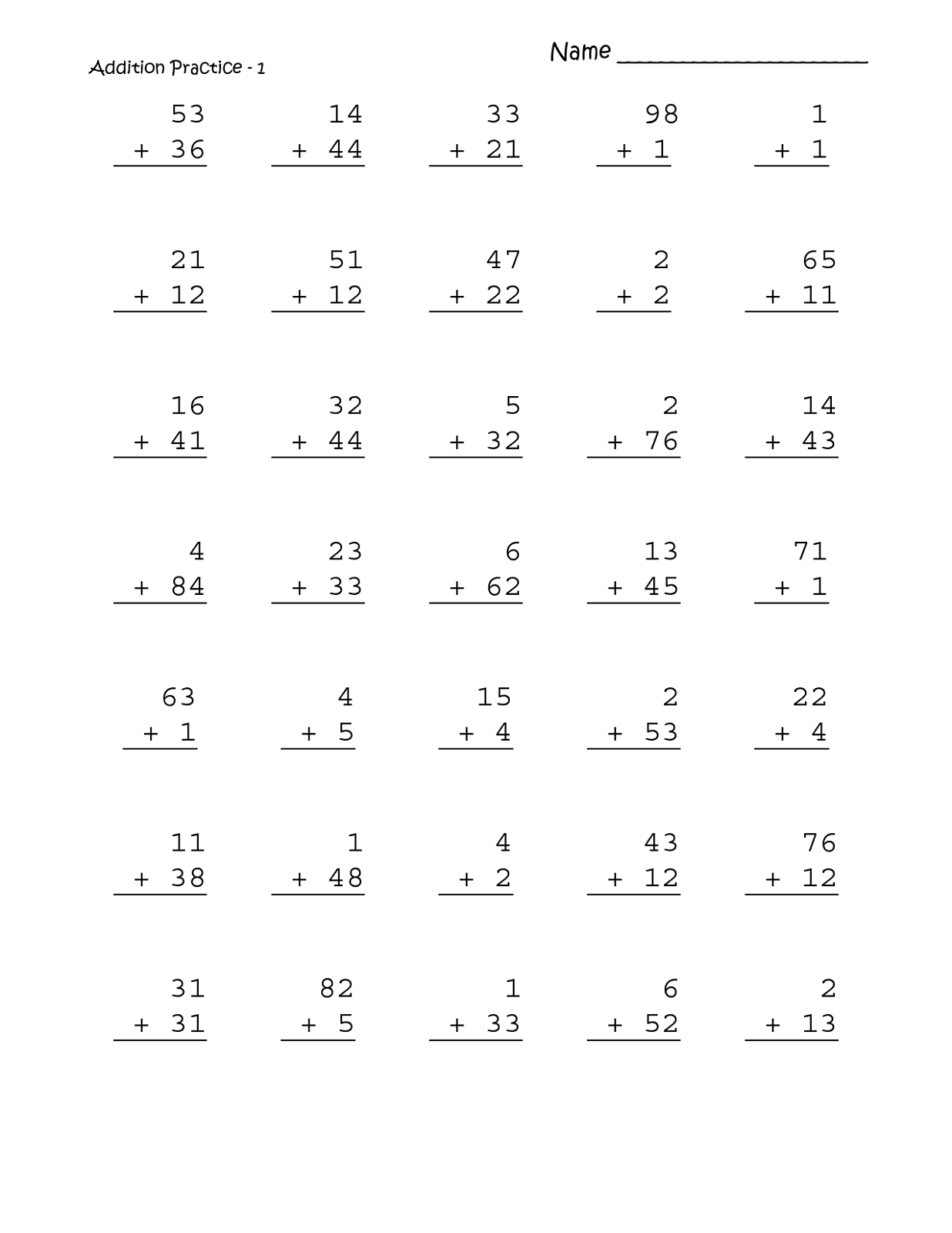 Addition Worksheet 1