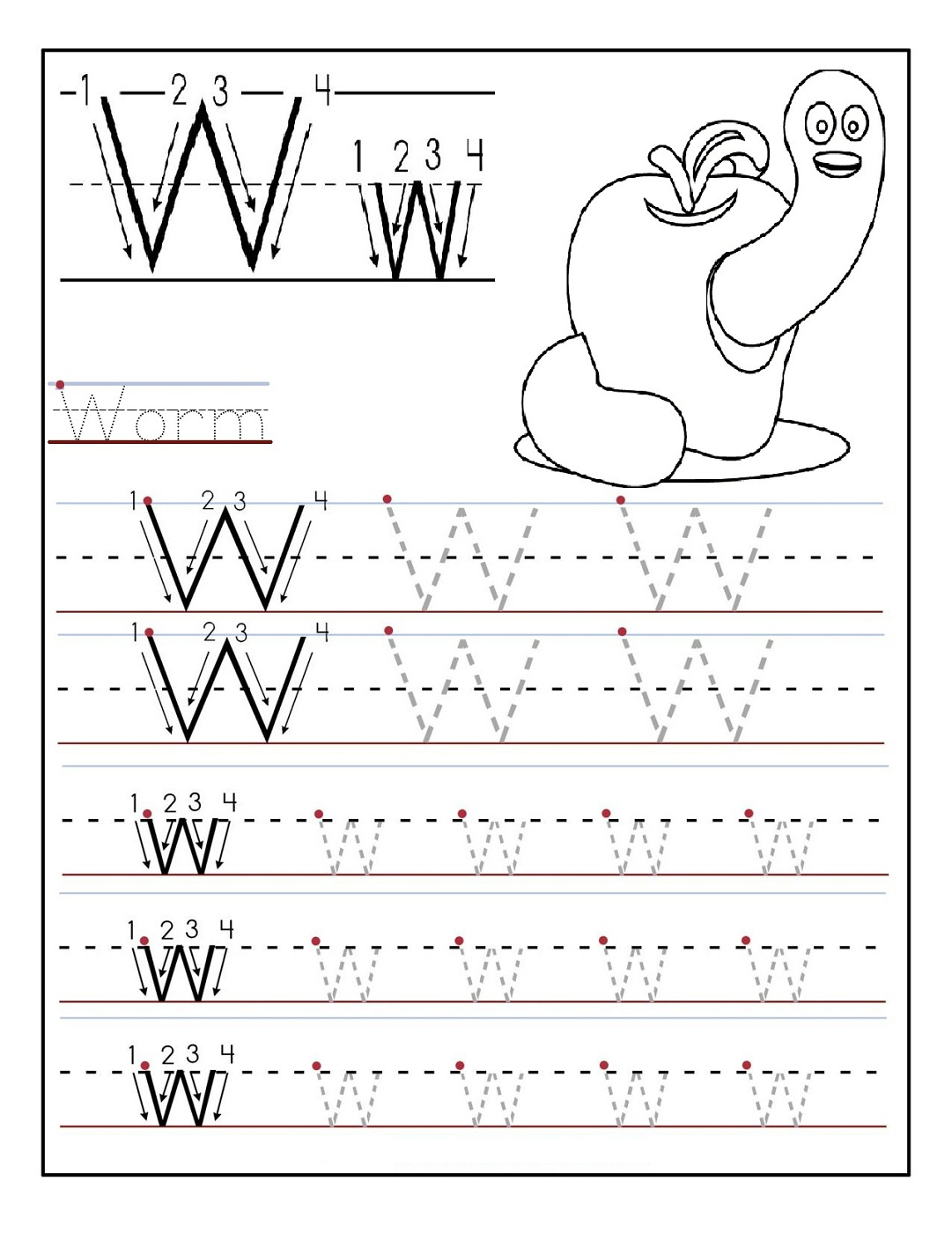 Worksheet Letter W Whale