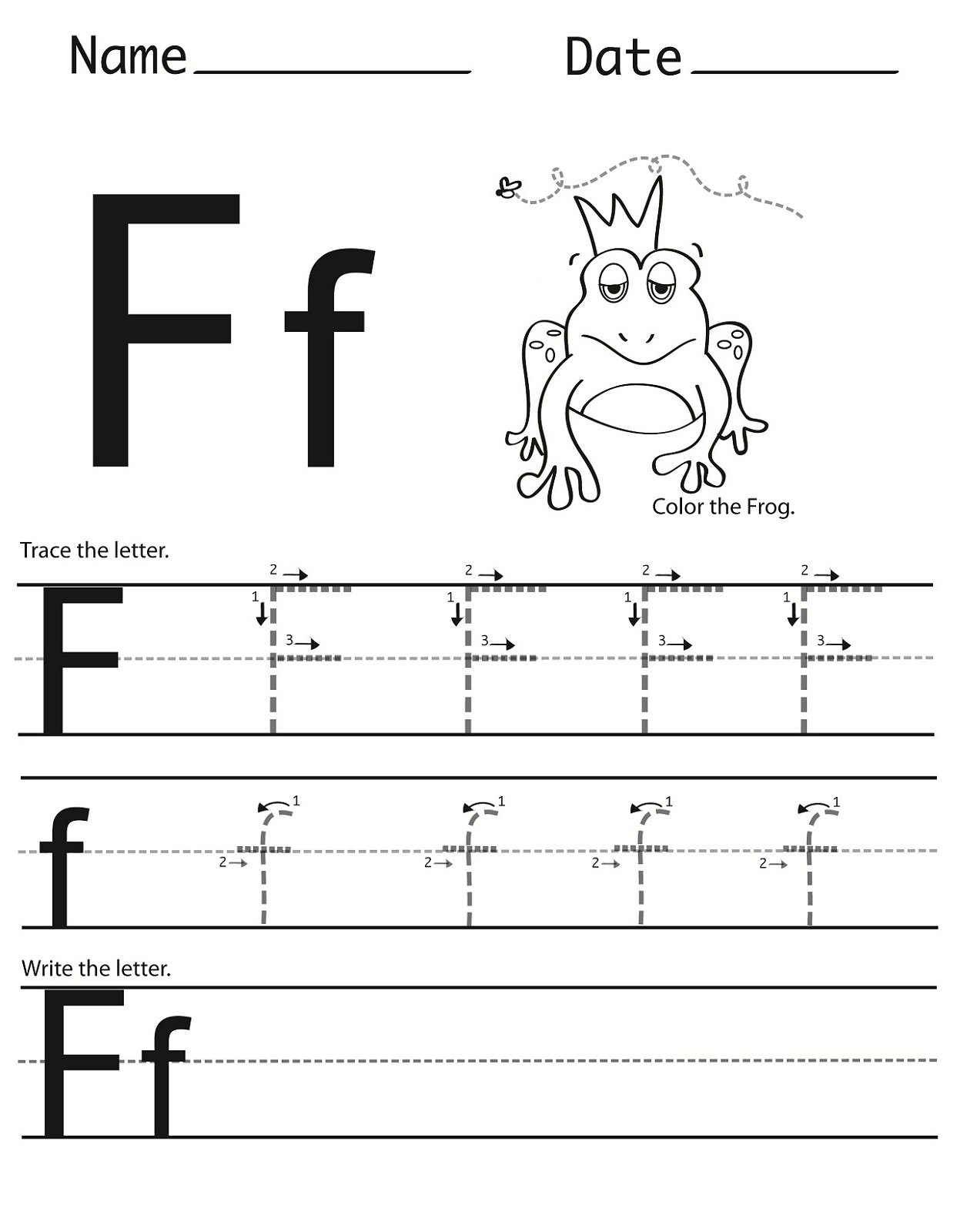 Letter F Worksheet For Preschool And Kindergarten