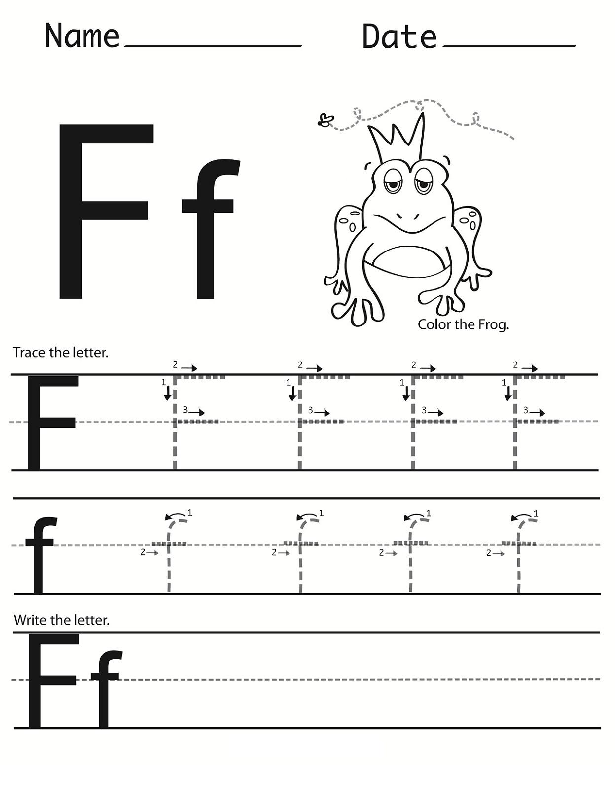 Identifying Letter Worksheet F