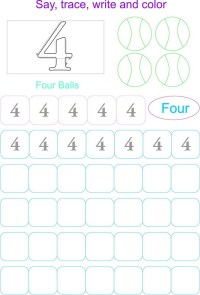 Printable Number 4 Worksheets For Preschool. Printable