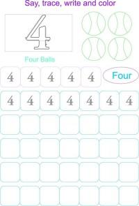 Printable Number 4 Worksheets For Preschool. Printable