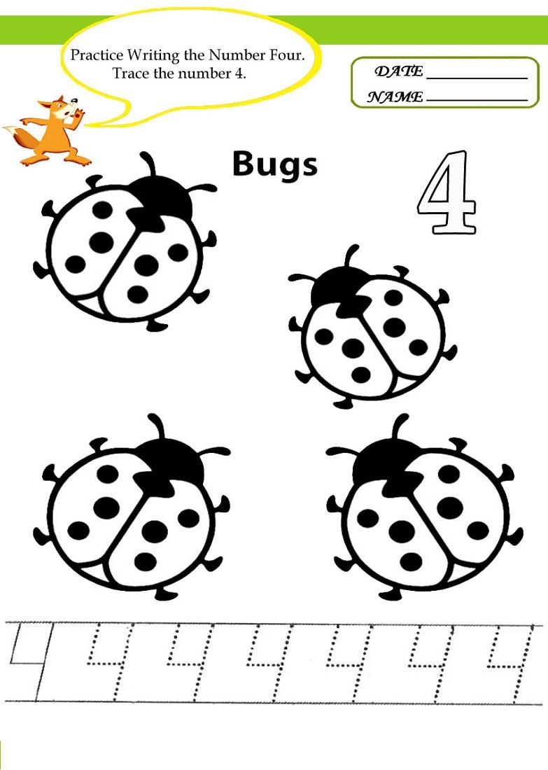 Number 4 Worksheets for Children