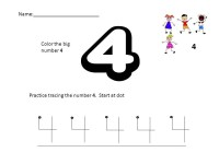 Number 4 Worksheets for Children