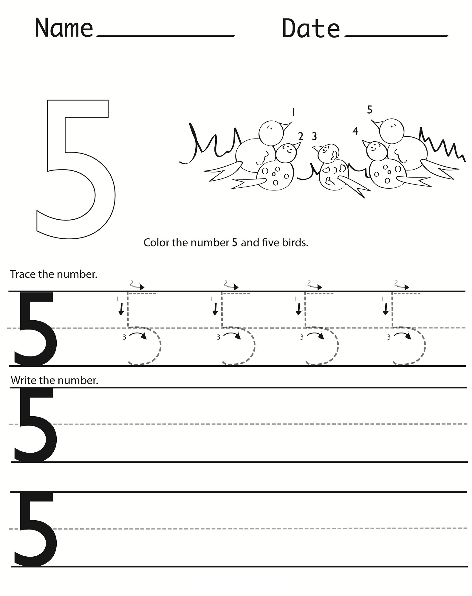 Number 5 Worksheets For Children