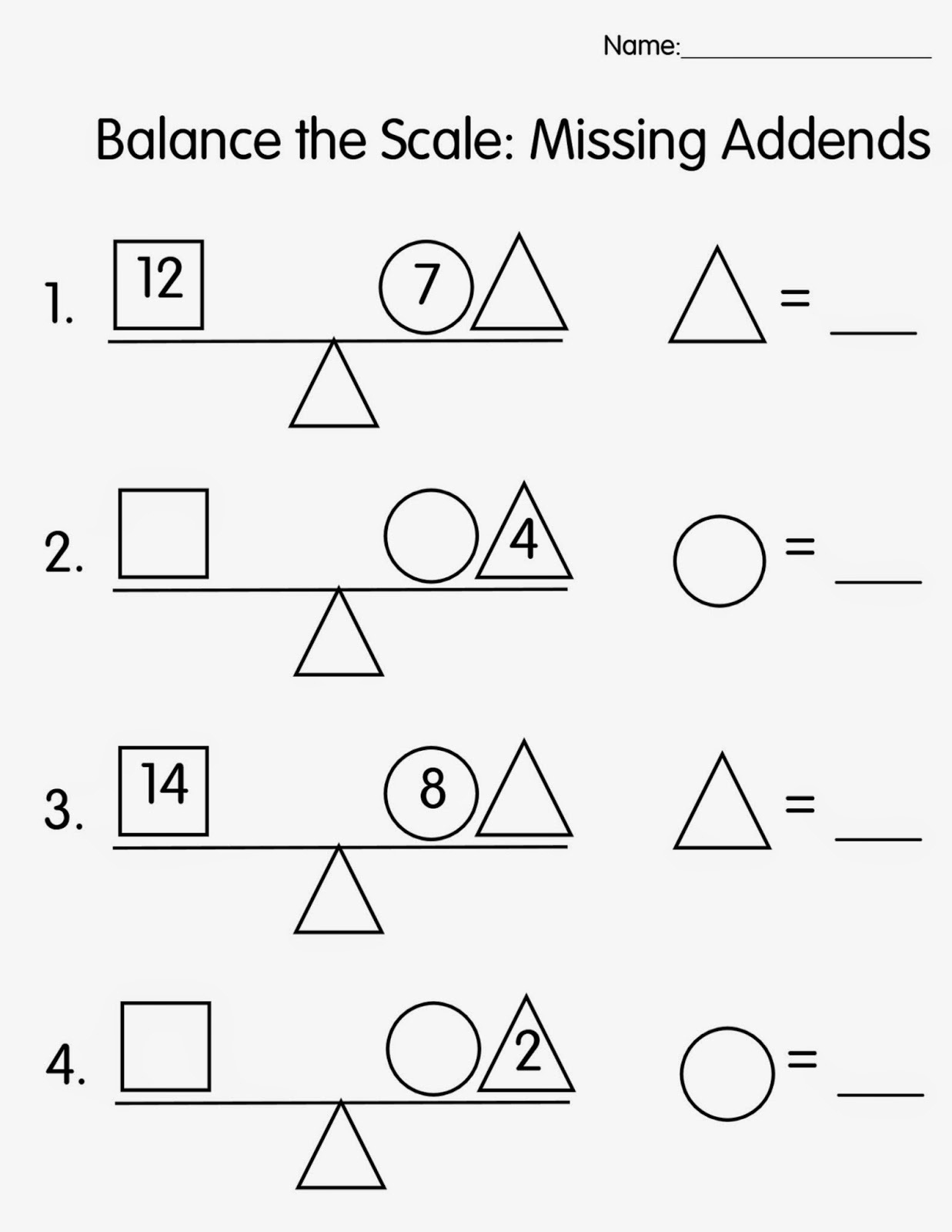 Balance Scale Worksheets For Children