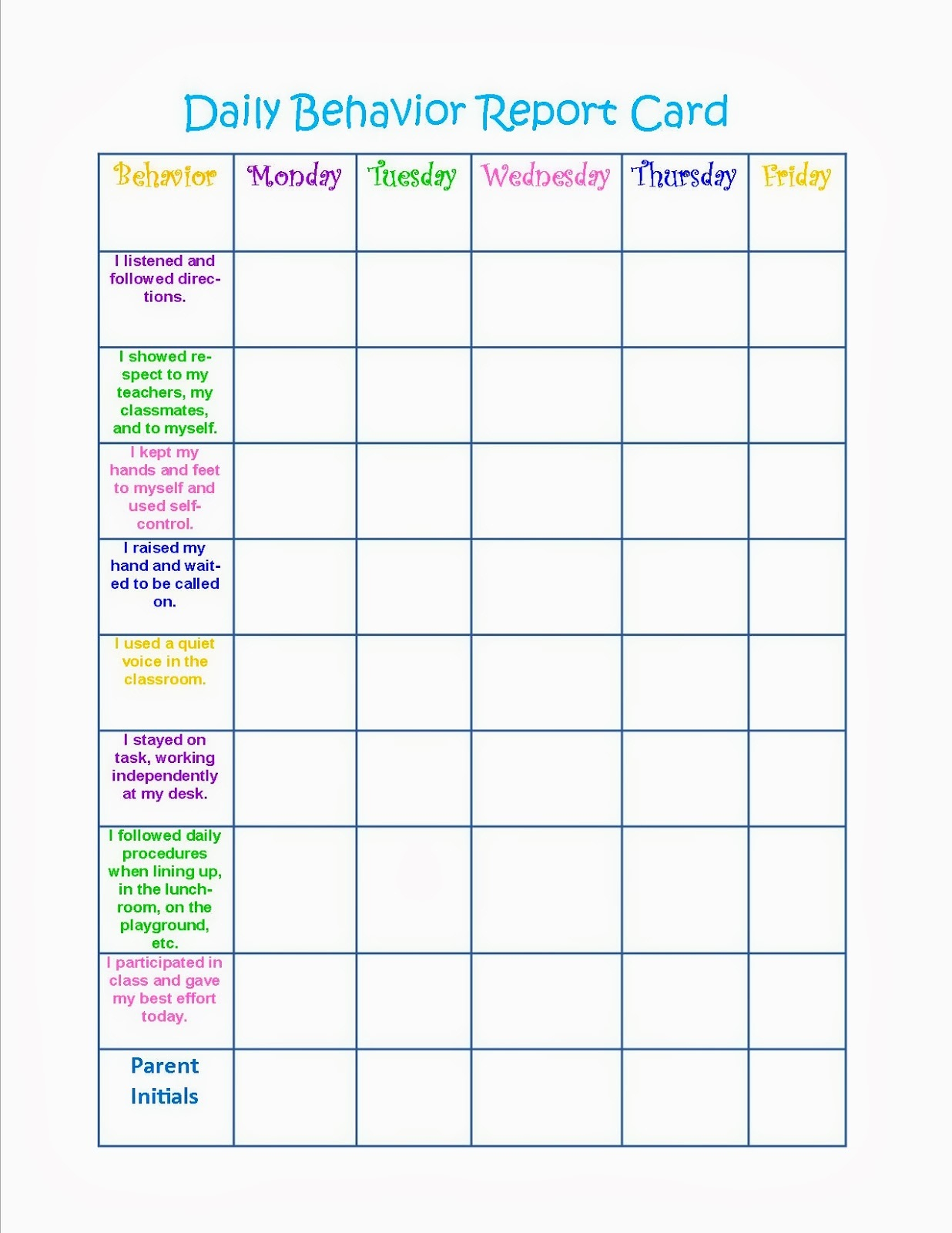Behavior Charts Printable For Kids