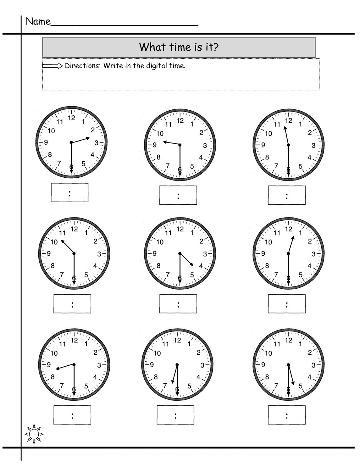 Colck Worksheet