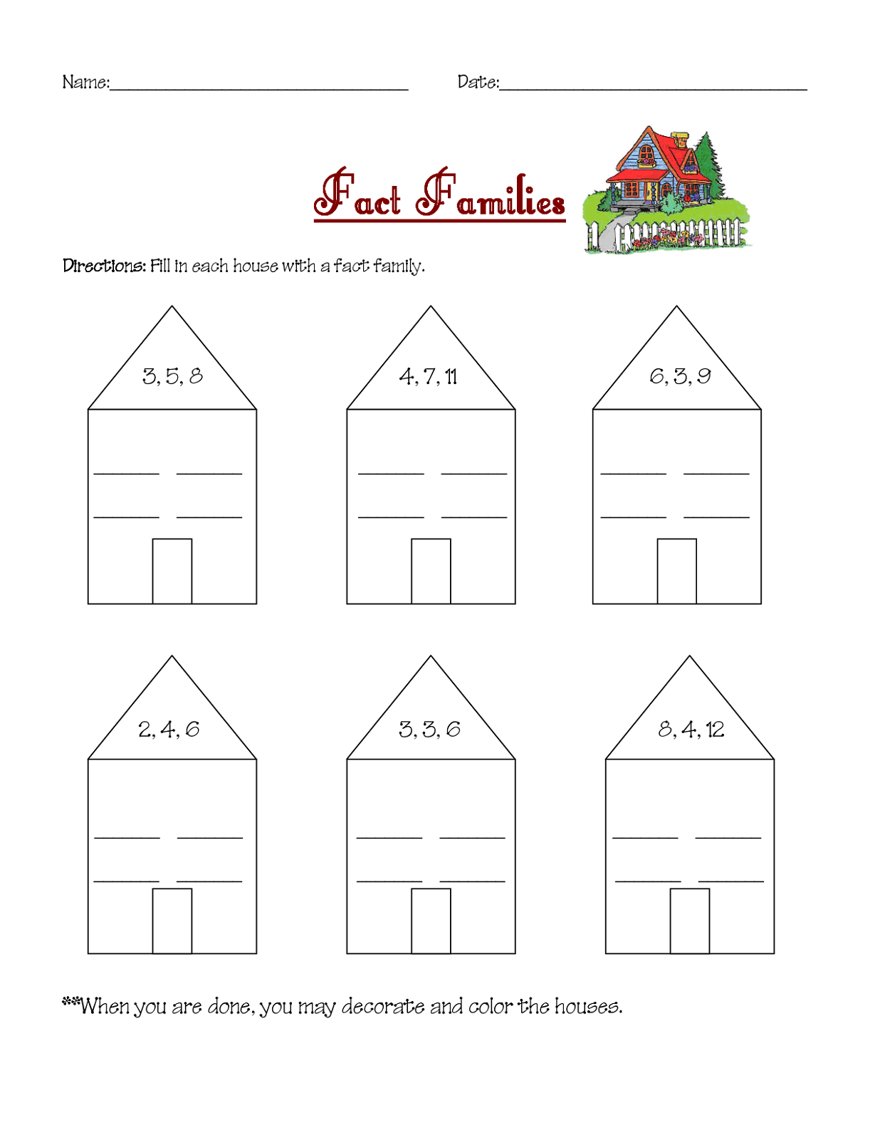 3rd Grade Fact Families Worksheet