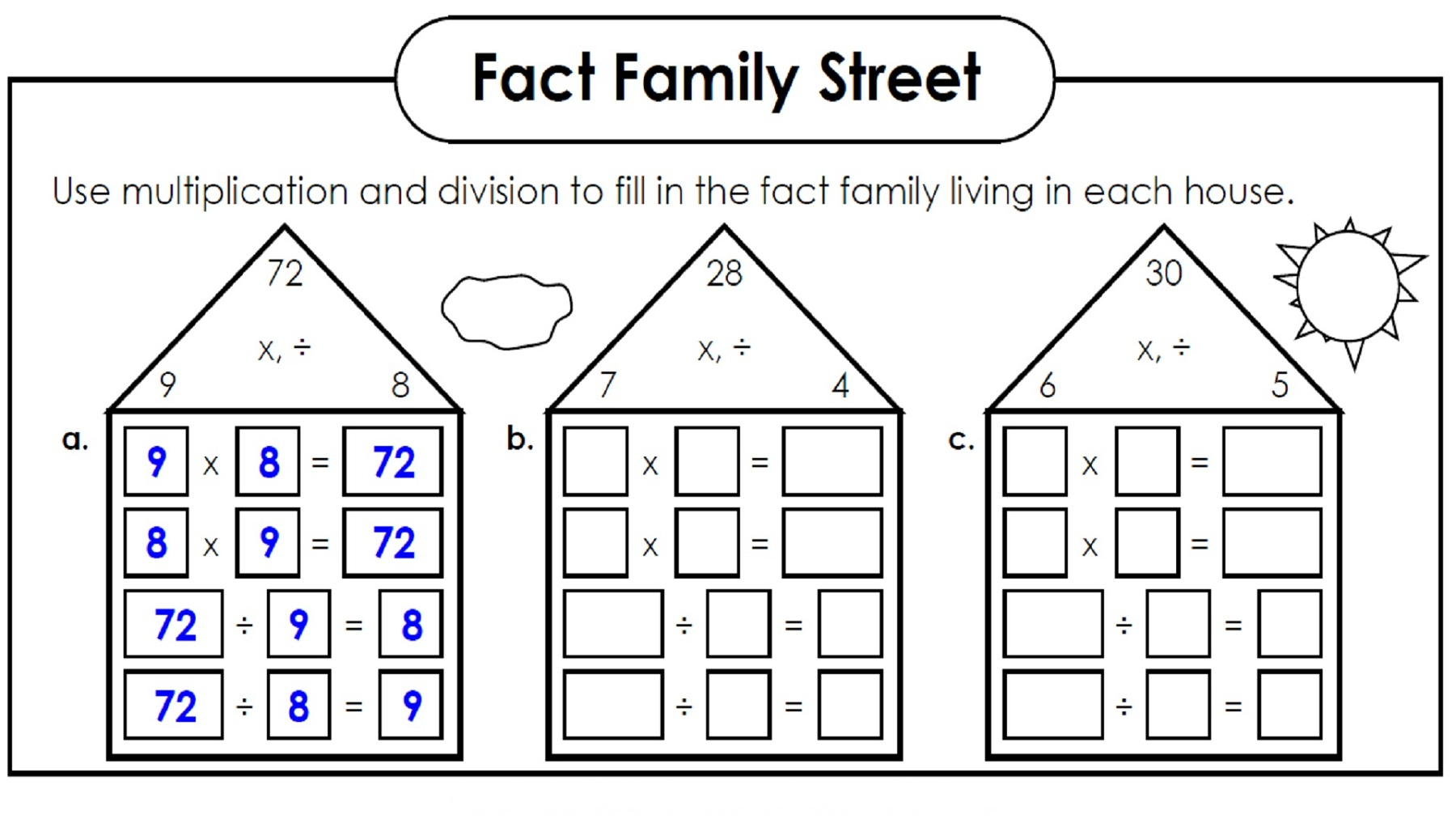 Number Family Worksheets For Kids
