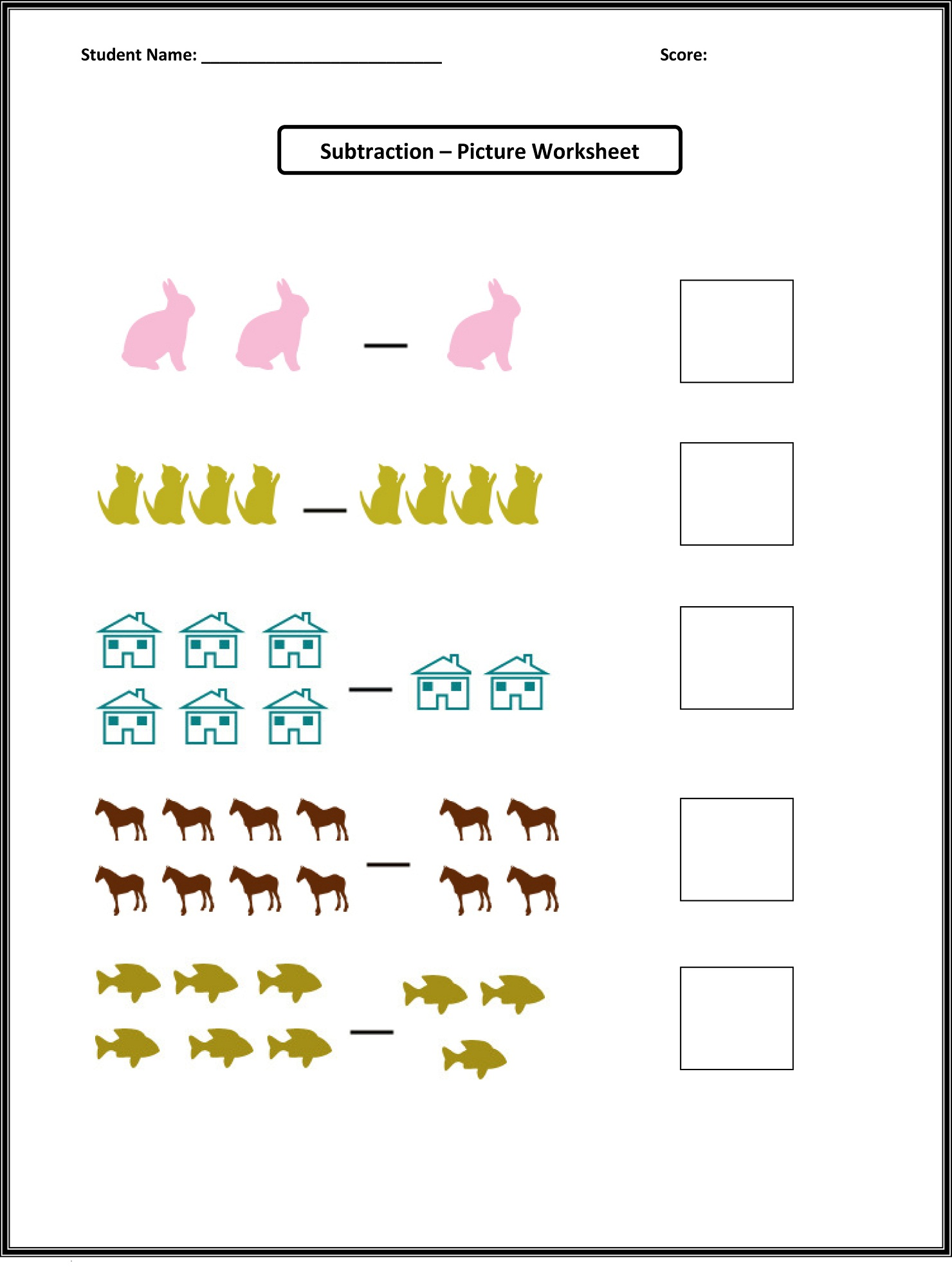 Picture Math Worksheets To Print