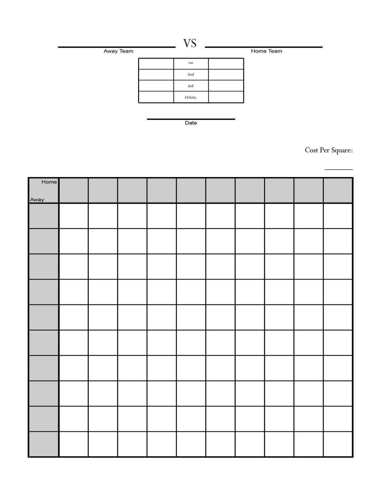 Super Bowl Squares Sheet Game Download Printable Panthers