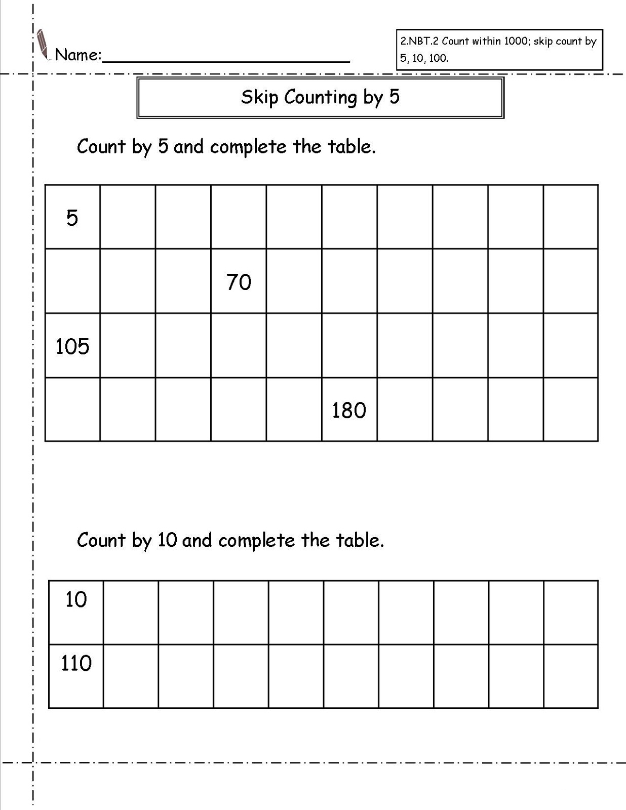 Skip Count Worksheets Printable