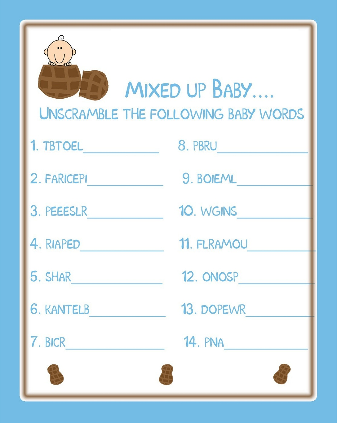 Baby Shower Words Scrambles Printable