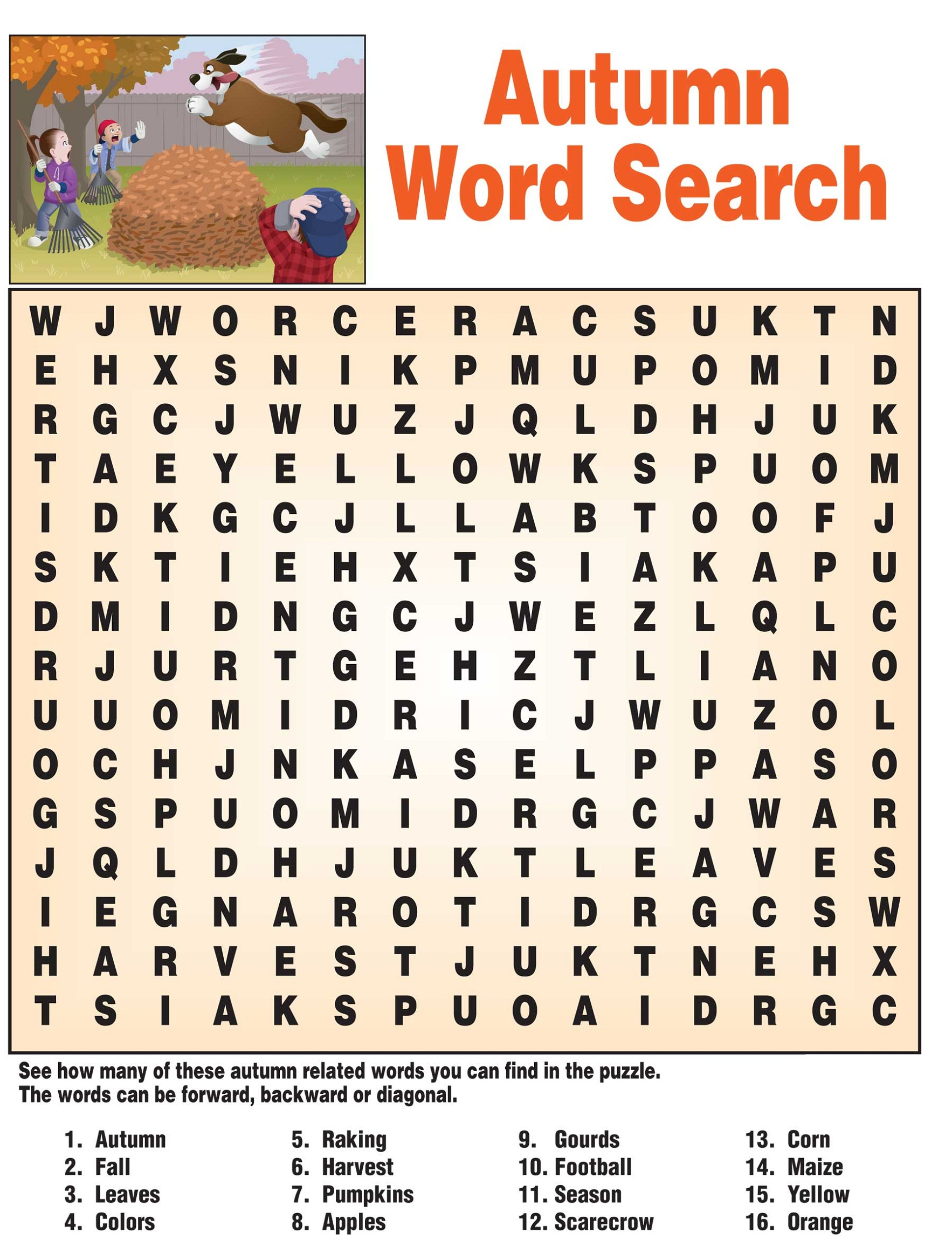 Fall Word Search For Brain Training